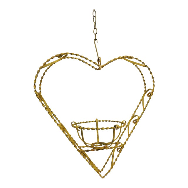 Vintage Heart-Shaped Yellow Planter - Image 1 of 6