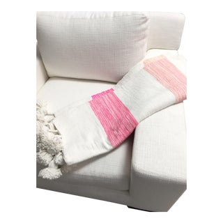 Coco Pink, Peach + White Stripe Throw For Sale