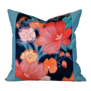 Colorful Poppy Japanese Silk Obi Pillow Cover For Sale