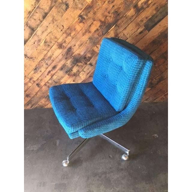 Vintage Reupholstered Rolling Office Chair - Image 5 of 6