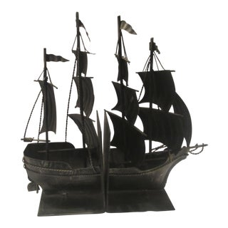 1920s Vintage Tall Ship Bookends - a Pair For Sale