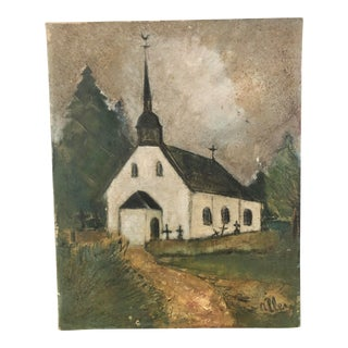 Early 20th Century Country Church Oil Painting For Sale