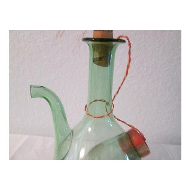 Vintage Italian Green Blown Glass Wine Carafe - Image 4 of 8