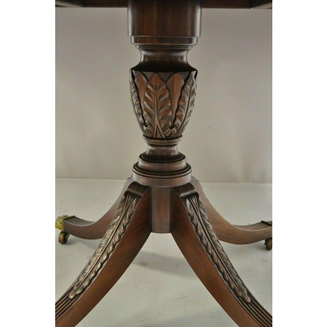 Early 20th Century Antique Square Banded Mahogany Duncan Phyfe Dining Conference Room Table For Sale - Image 5 of 13
