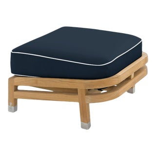 Linley Footrest in Sundeck Blue with Nice White Welt For Sale