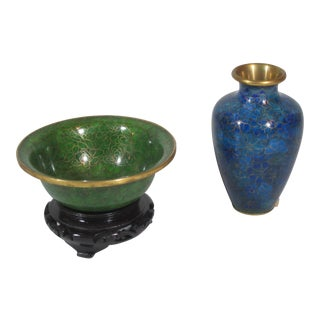 Cloisonné Vase and Bowl with Stand