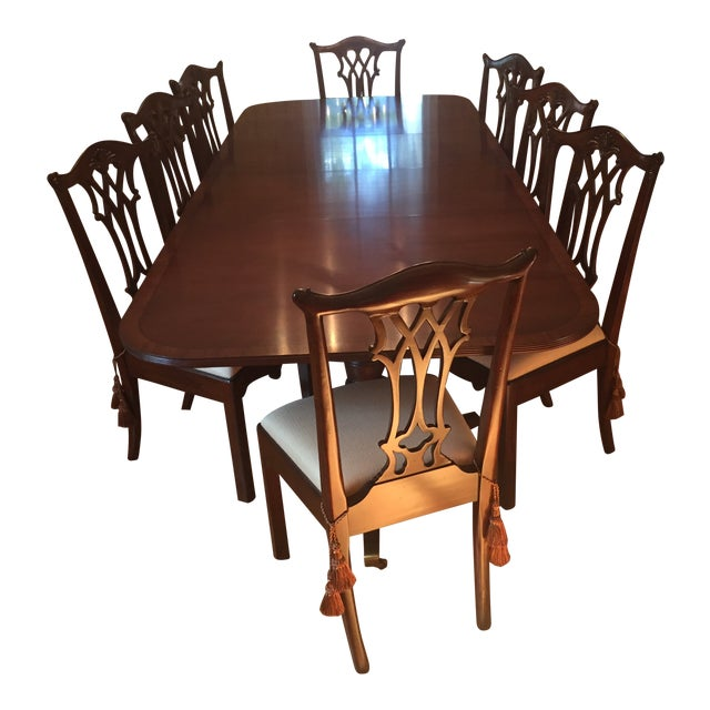 Maitland Smith Regency Chippendale Carved Dining Set For Sale