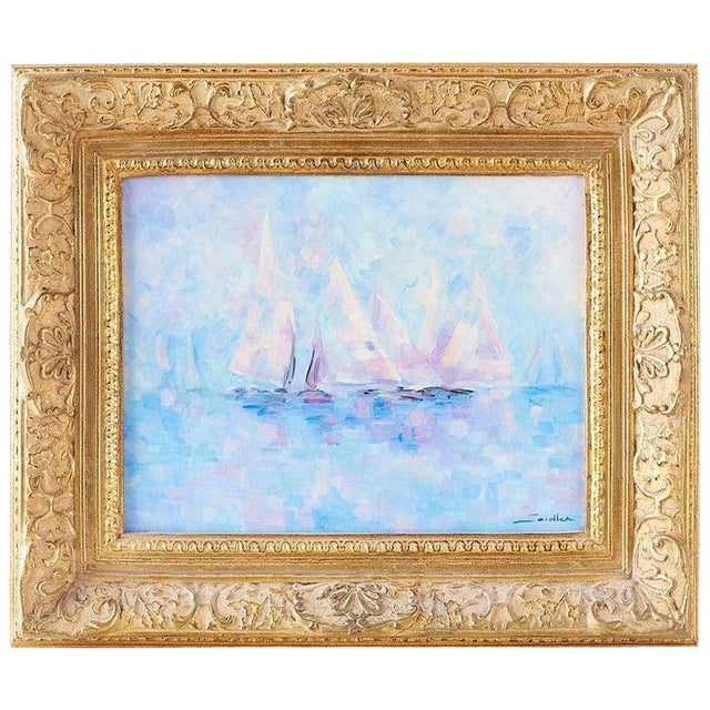 Midcentury Oil on Canvas Painting of Sailboats For Sale
