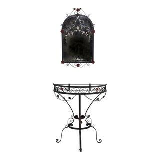 Hollywood Regency Hallway Iron Demi-Lune Table & Mirror W/ Cut Metal Decor, Flowers & Vines - a Pair For Sale
