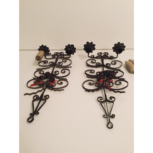 1960s Italian Metal Scroll Candle Sconces - A Pair For Sale - Image 5 of 8