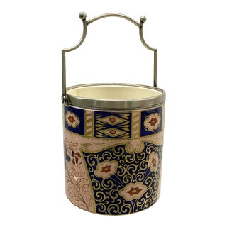 Vintage Patterned Ceramic Ice Bucket With Silver Plated Handle and Trim For Sale