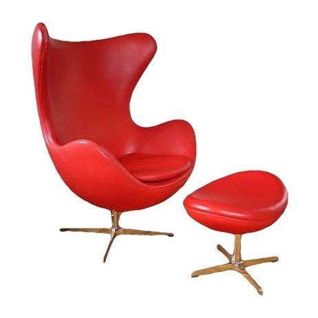 Arne Jacobsen Style Red Leather Chair & Ottoman For Sale