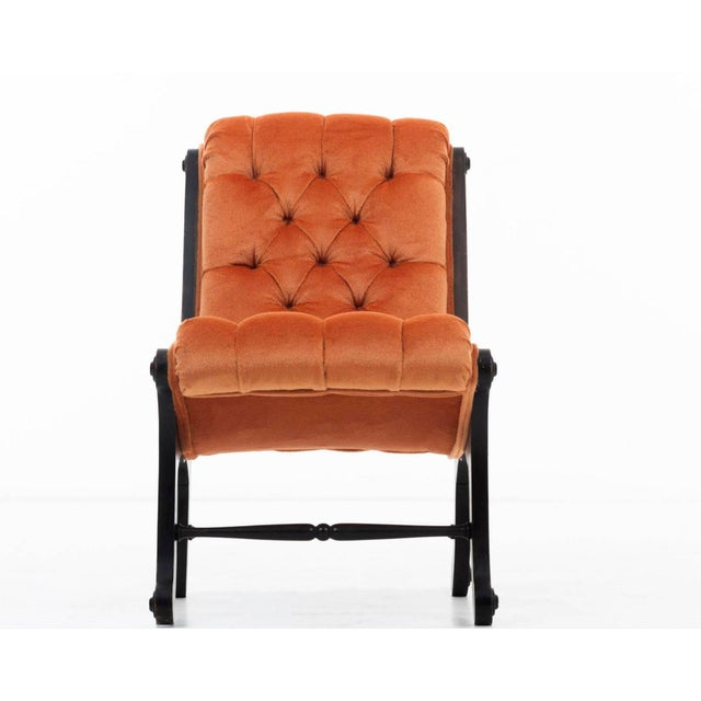 This chair has been tufted upholstered with Great Plains mohair and solid wood base, structurally sound with walnut stain....