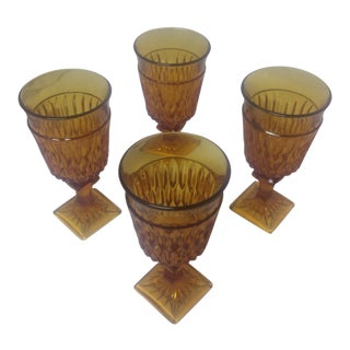 Indiana Glass Co. Amber Goblets - Set of 4