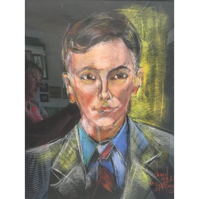 Mid-Century Modern Mid-Century Portrait of a Man Signed For Sale - Image 3 of 7