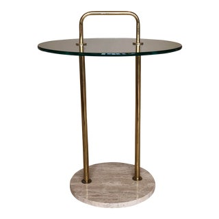 20th Century Scandinavian Glass, Brass and Travertine Side Table For Sale