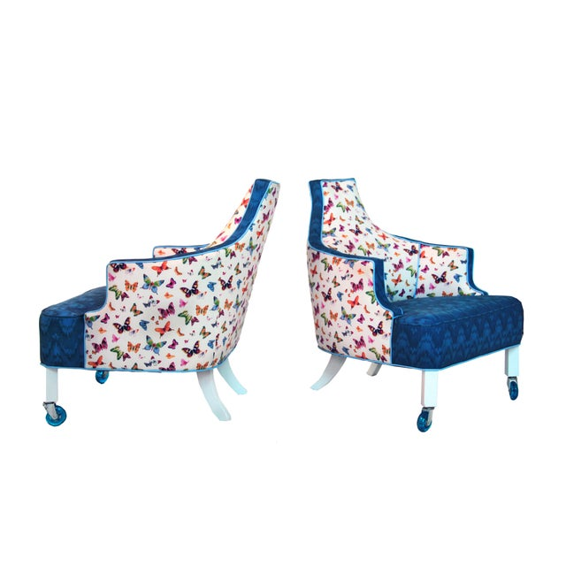 Unusual Accent Chairs Pattern.1960s Vintage Christian Lacroix Inspired Cobalt Butterfly Accent Chairs A Pair