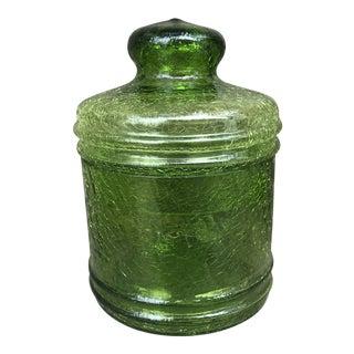 Vintage Blenko Crackled Green Glass Apothecary Jar For Sale