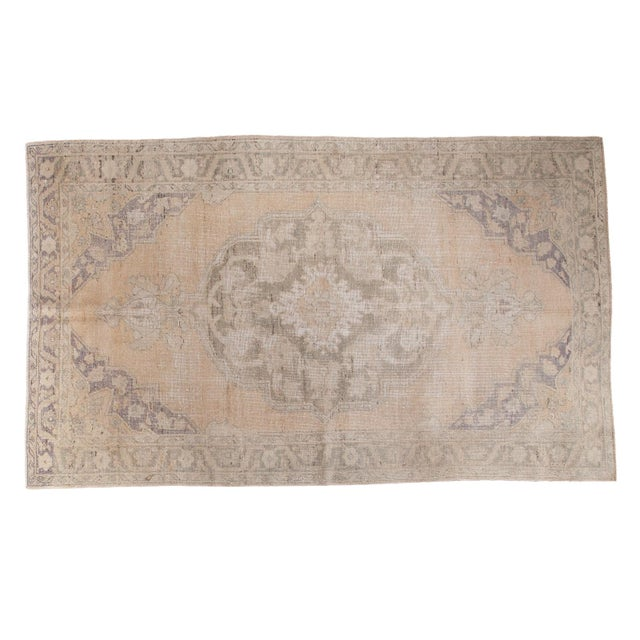 "Peach Distressed Oushak Carpet - 5'9"" x 9'6"" - Image 1 of 8"