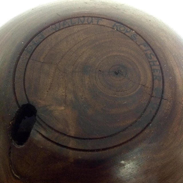 Turned Walnut Bowl by Master Turner Roy S. Fisher - Image 4 of 4