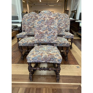 Vintage Mission Style Chinoiserie Dining Chairs- Set of 6 Preview