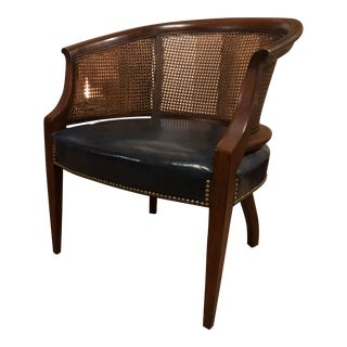 1960s Vintage Mid Century Barrel Cane Chair For Sale