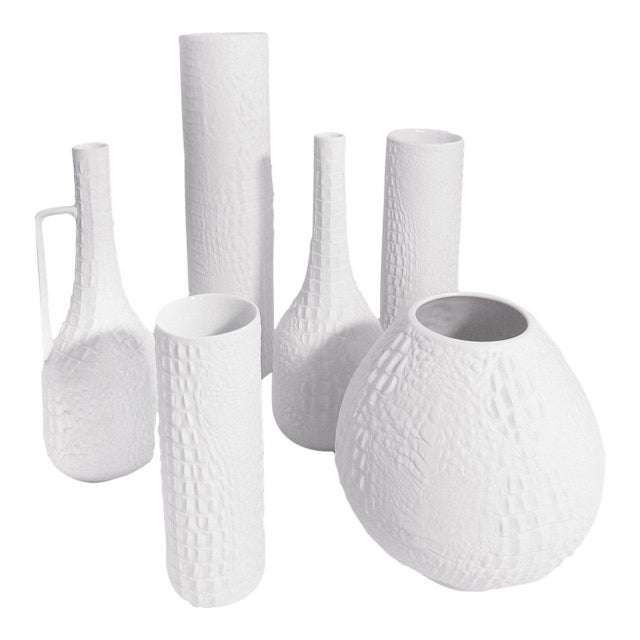 World Class White Modernist Cylinder Bisque Vase With Crocodile