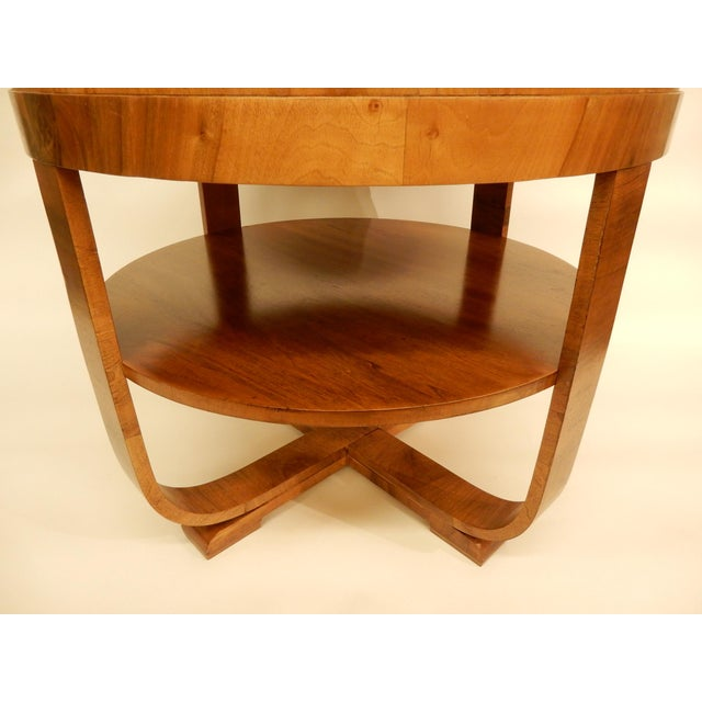 Round Art Deco Walnut Side Table For Sale - Image 4 of 7