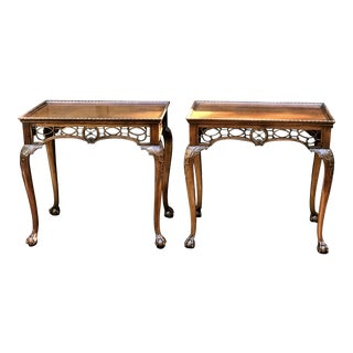 Chippendale Style Frette Work Ball & Claw Side Tables - a Pair For Sale