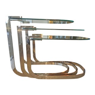 Mid Century Modern Design Institute of America 'DIA' S / 3 Chrome & Glass Nesting Tables