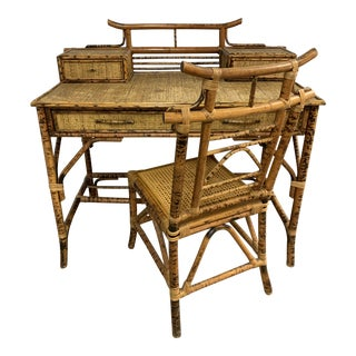 Vintage Burnt Bamboo Pagoda Desk and Chair For Sale