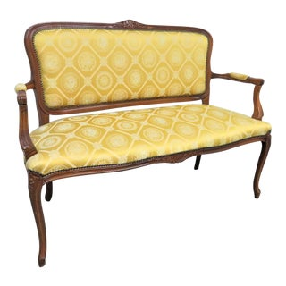 20th Century Louis XV Floral Carved Settee For Sale