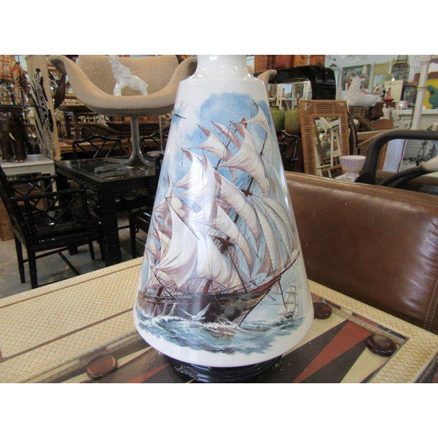 Hand Painted Ship Lamp - Image 4 of 9