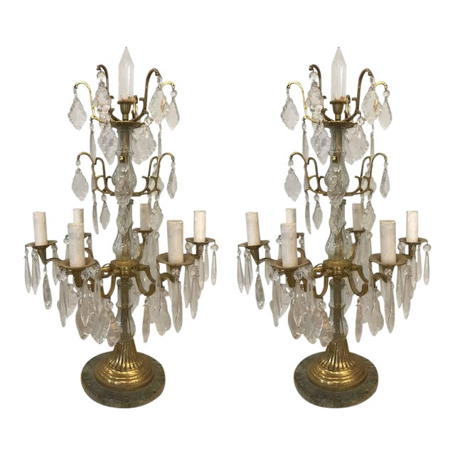 Pair of Louis XVI Style Bronze Candelabras For Sale