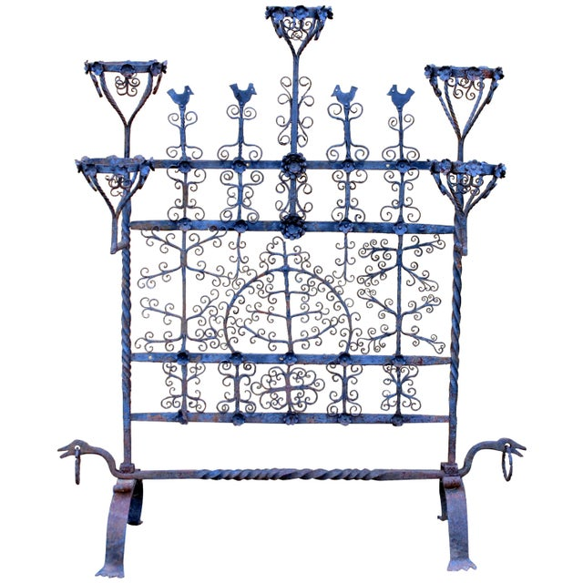 Iron Antique Spanish Colonial Mexican Wrought Iron Yellin Fire Screen Plant Stand For Sale - Image 7 of 7