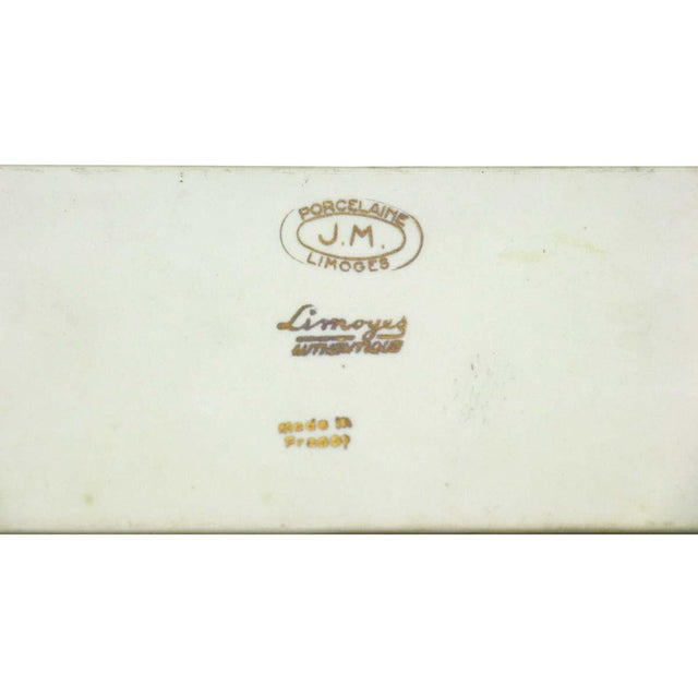 Mid 20th Century Pair of Limoges 7.75 In. White Ceramic Floral Door Push Plates For Sale - Image 5 of 6