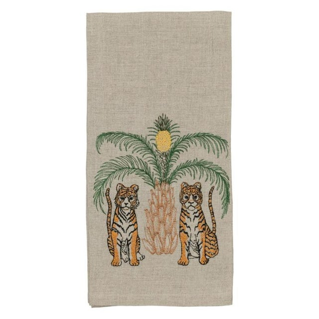 2010s French Ecru Linen Tigers With Pineapple Palm Tree Tea Towel For Sale - Image 6 of 6