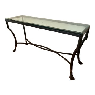 Kreiss Luxury Home Iron & Glass Palomino Console Table For Sale