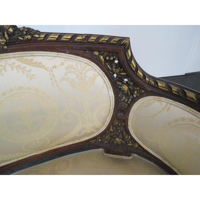 Brown Louis XVI Style Settee For Sale - Image 8 of 9