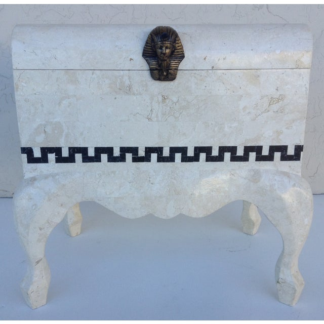 Modern Maitland Smith Tessellated Footed Standing Chest For Sale - Image 3 of 11