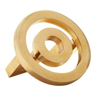 Nest Studio Collection Deco-1.25FC Polished Brass No Lacquer Knob For Sale