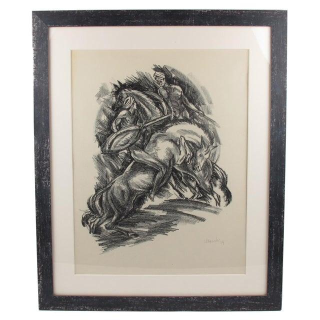 Adolf Uzarski Charcoal Drawing Lithograph For Sale - Image 11 of 11