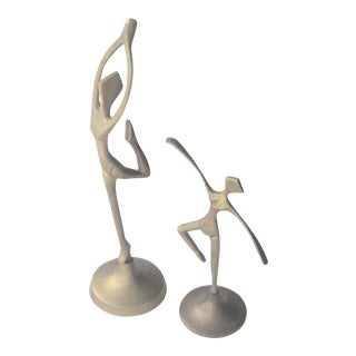 1950s Pr. Of Brass Modern Dancers Statues - 2 Pieces For Sale