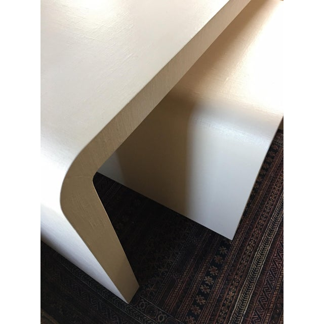Art Deco Modernist Waterfall Lacquered Linen Console and Side Table For Sale - Image 3 of 12