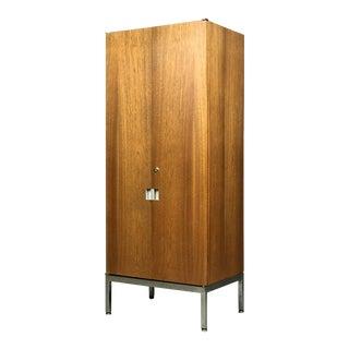 Knoll Armoire Cabinet in Teak and Chrome Custom Order Chest Bookshelf For Sale