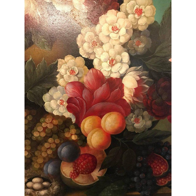 Mid-Century Modern A Palatial Framed Oil On Canvas Still Life Of Flowers For Sale - Image 3 of 12