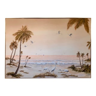 Vintage Large Seascape Tropical Beach Original Oil on Canvas Painting Signed and Framed For Sale