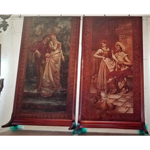 Pair of Monumental Framed Italian 18c Painted Tapestries For Sale - Image 13 of 13