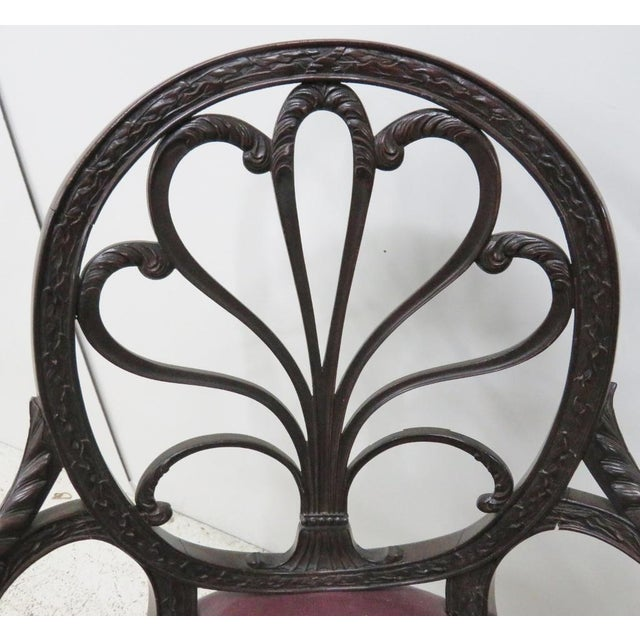 English Mahogany Carved Arm Chair For Sale In Philadelphia - Image 6 of 9