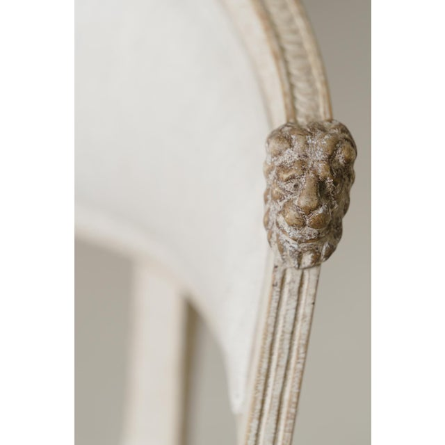 White Swedish Gustavian Barrel Back Armchairs With Lions' Heads - a Pair For Sale - Image 8 of 11
